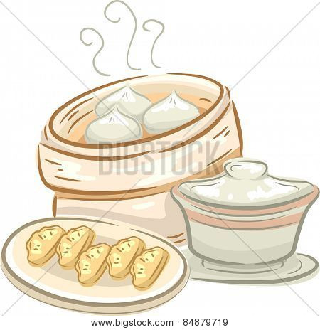 Illustration of a Plate of Dimsum and a Container Full of Meat Buns