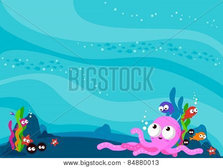 Underwater sea animals background