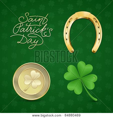 Saint Patrick's illustration set.  Symbols of good luck: clover & horseshoe. Vector illustration