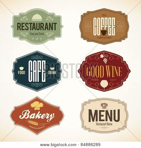 Label and logo set for restaurant menu design