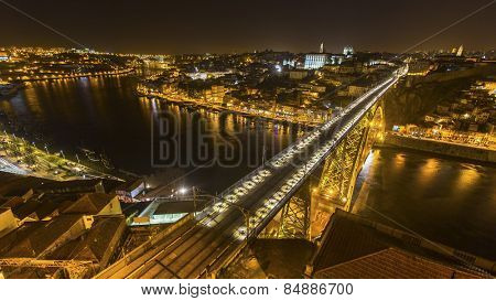 PORTO, PORTUGAL - FEB 18, 2015: Top view of Ribeira and Douro river at night time in Porto, Portugal. In 1996, UNESCO recognised Old Town of Porto as a World Heritage Site.