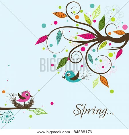 Template spring greeting card, vector illustration