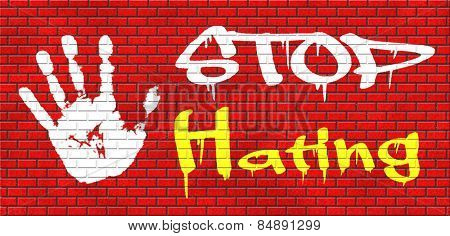 no hate stop hating start love tolerance and forgiveness forgive enemies no discrimination or racism graffiti on red brick wall, text and hand