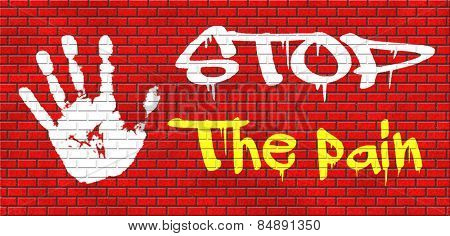 pain killer stop headache migraine, no more suffering painkiller paracetamol aspirine merphine medicine treatment prevention and therapy graffiti on red brick wall, text and hand