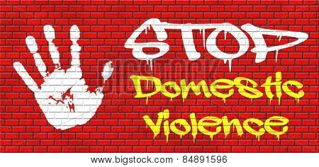domestic violence abuse or aggression within marriage against partner wife or children graffiti on red brick wall, text and hand