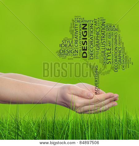 Concept conceptual abstract art design word cloud tagcloud tree on green blur grass background metaphor to graphic, child, artwork, creative, young, idea, style, creative, fashion, decor or abstract