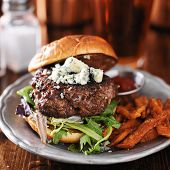 gourmet burger with blue cheese and sweet potato fries on metal plate.  poster
