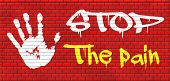 pain killer stop headache migraine, no more suffering painkiller paracetamol aspirine merphine medicine treatment prevention and therapy graffiti on red brick wall, text and hand poster