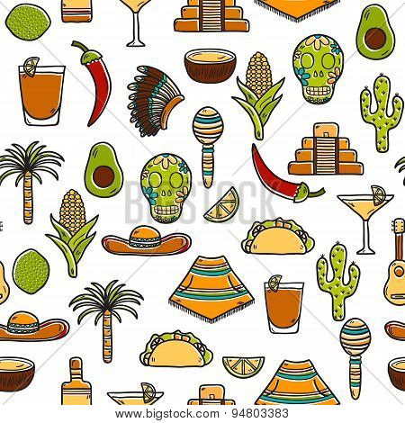 Seamless background with cute hand drawn objects on Mexico theme: sombrero, poncho, tequila, coctail