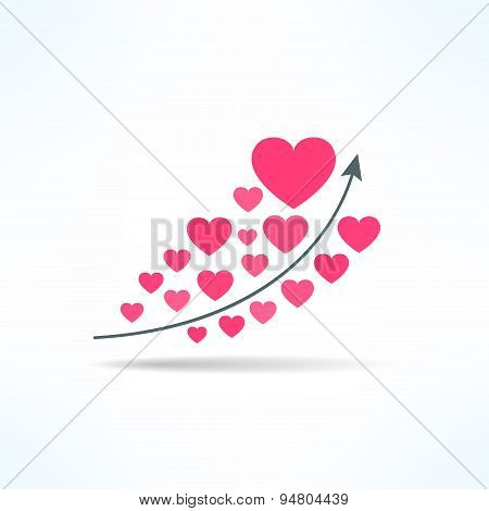 Vector love graph with hearts. Liking raise concept. Fame chart