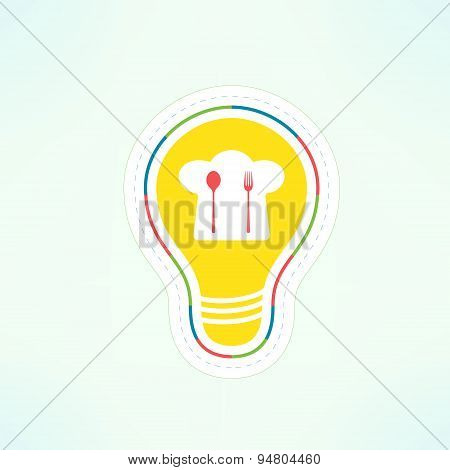 Vector cooking idea design element. Food recipe innovation contept. Cafe logo and menu background