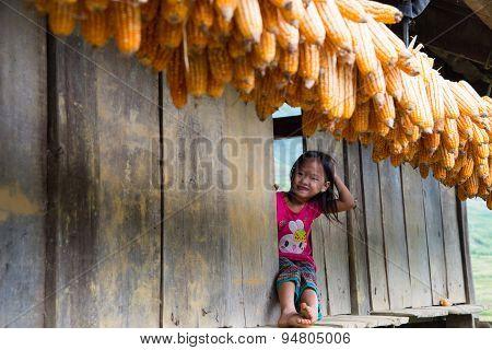 H'mong ethnic minority children in Mucangchai, Vietnam