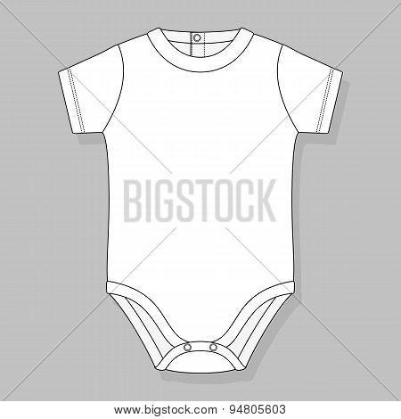 newborn baby bodysuit flat sketch