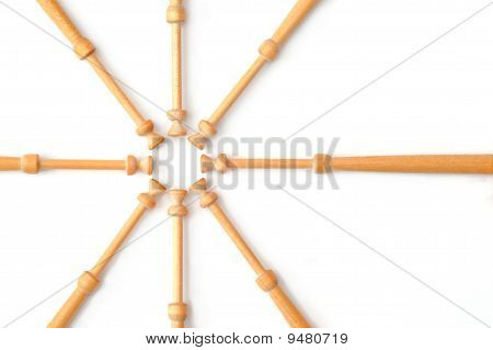 web of wooden lace making bobbin spindles on white poster