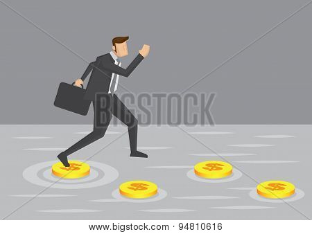 Businessman And Money Stepping Stones Vector Illustration