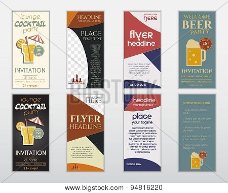Set of flyer layout templates. Cocktail lounge party, business management consulting, france 2016, b