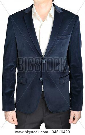Velvet Blazer Wedding Groom Suit Jacket, Navy Blue, On White.