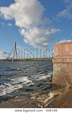 cable bridge over the daugava river (riga latvia europe) poster
