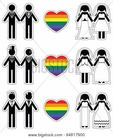 Lesbian brides and gay grooms icon 4 set with rainbow element