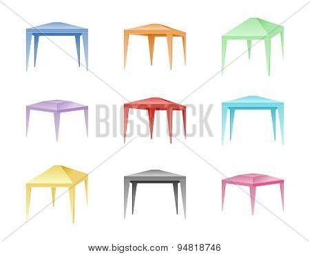 Vector set of color folding tents