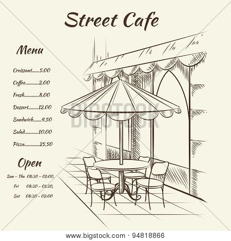 Hand drawn street cafe background
