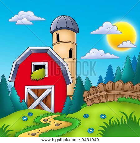 Meadow With Big Red Barn