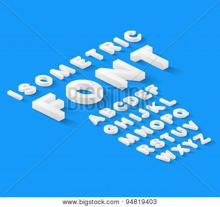 White isometric font alphabet