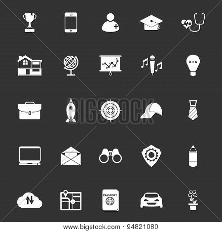 Job description icons on gray background stock vector poster