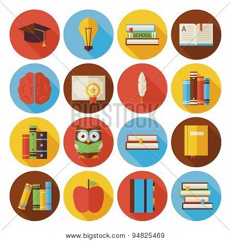 Flat Reading Knowledge And Book Circle Icons Set With Long Shadow
