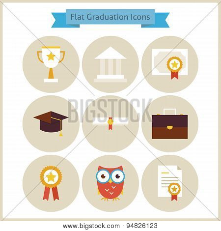 Flat School Graduation And Success Icons Set