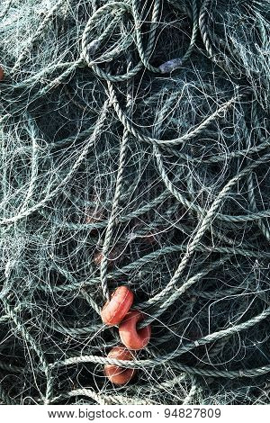 Fishing Net With Ropes And Floats