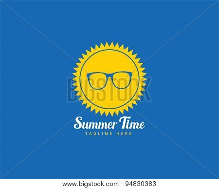 Abstract vector logo elements. Sun, vocation, summer time, glasses and holiday. Stock illustration f
