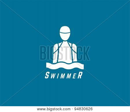 Abstract vector elements. Swimmer club or triatlon logo template. Stock illustration for design