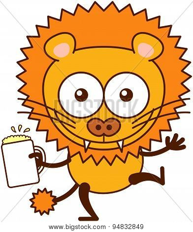 Cute lion happily celebrating with beer