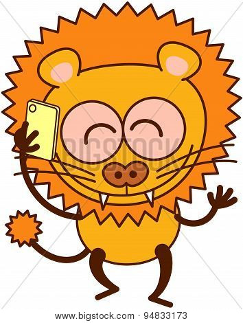 Cute lion speaking on a cellphone