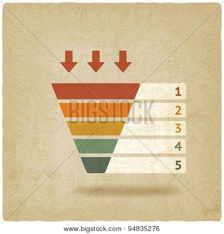 color marketing funnel symbol old background