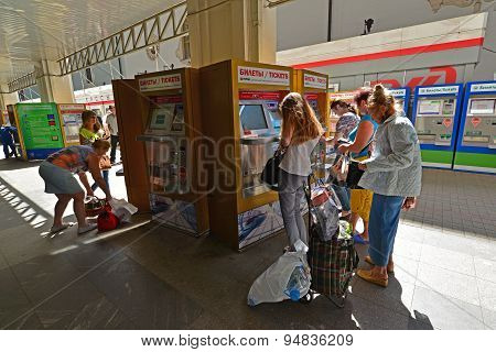 Moscow, Russia - 17.06.2015. The Interior Of Kazansky Railway Station. Terminal To Buy Train Tickets