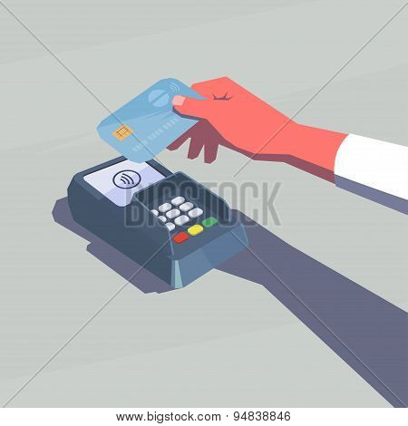 Contactless payment. Female hand holding credit card. NFC technology. Retro style illustration. poster
