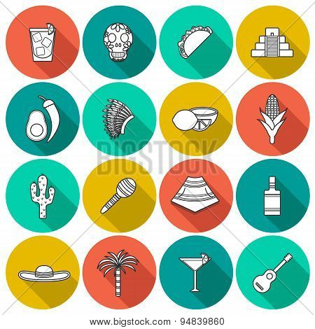 Set of flat outline shadow icons on Mexico theme: sombrero, poncho, tequila, coctails, taco, skull,
