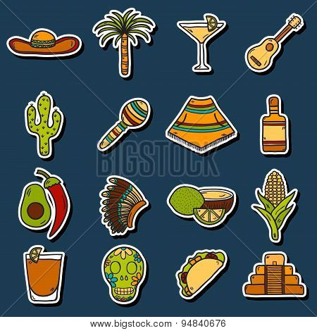 Set of cute hand drawn stickers on Mexico theme: sombrero, poncho, tequila, coctails, taco, skull, g