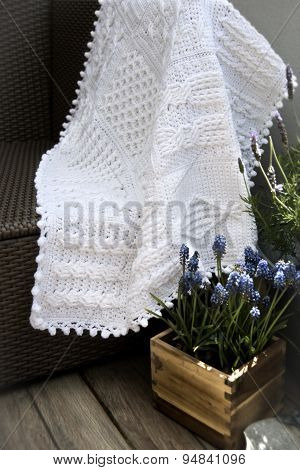 Crochet, Cable Knit Afghan Baby Blanket in White Color