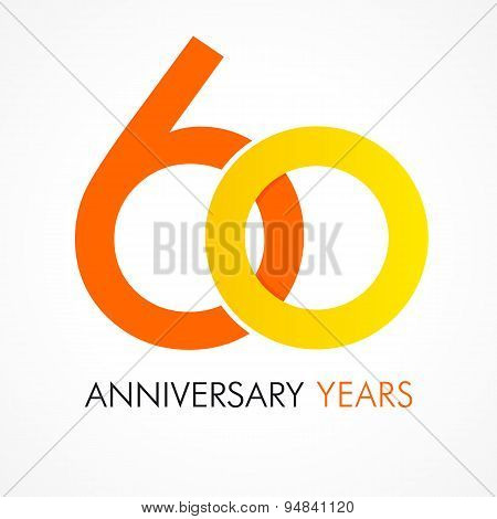 60 years old celebrating classic logo. Anniversary year of 60 th vector template. Birthday greetings celebrates. Traditional digits of jubilee ages in a shape of two rings.