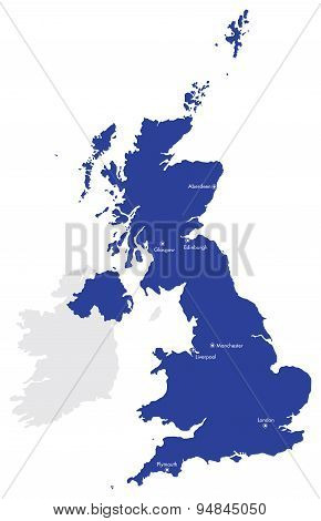 Map of the United Kingdom with Cities and Countries