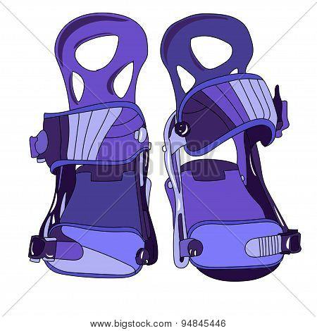 Snowboard binding with closed buckles front view. poster