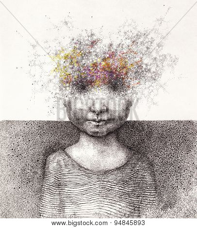 Surreal Hand Drawing Of A Boy From Stardust Decorative Artwork