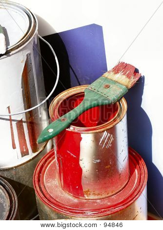 Red Paint Can And Brush