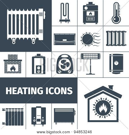 Heating devices boiler radiator fireplace warm home flat black silhouette decorative icon set isolated vector illustration poster
