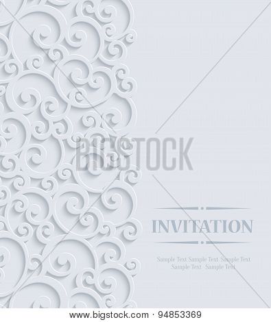 Vector 3D Vintage Invitation Card With Floral Curled Pattern