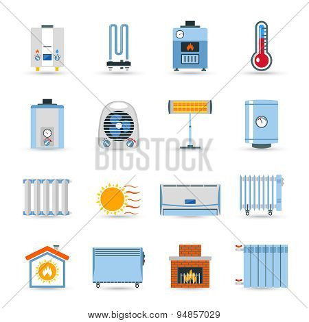 Heating devices boilers radiators and emitter or fireplace flat color icon set isolated vector illustration poster
