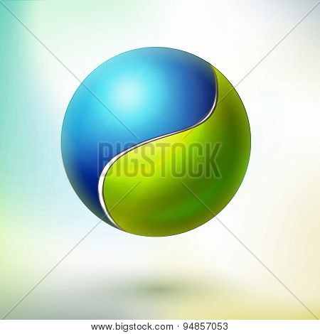 Vector Blue and green harmony ball sphere with different sides. Energy symbol. Technology style harmony education modern emblem. Circle icon. poster